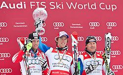13.03.2010, Goudyberg Herren, Garmisch Partenkirchen, GER, FIS Worldcup Alpin Ski, Garmisch, Men Slalom, im Bild Podium des Gesamtweltcup 2009 2010 Herren v.l. zeitplazierter Raich Benjamin ( AUT ), erstplazierter Carlo Janka ( SUI ), drittplazierter Couche Didier ( SUI ), EXPA Pictures © 2010, PhotoCredit: EXPA/ J. Groder / SPORTIDA PHOTO AGENCY