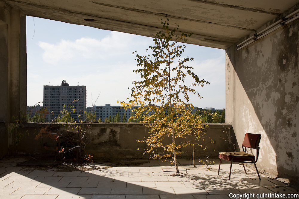 A silver birch tree grows through the floor on the terrace of Hotel Polissia. The hammer and sickle is visible atop the distant apartments.