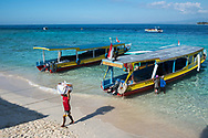 Tourists and locals in the Gili Islands in Indonesia.<br /> Photo shows Gili Meno Island, the smallest of the three islands.