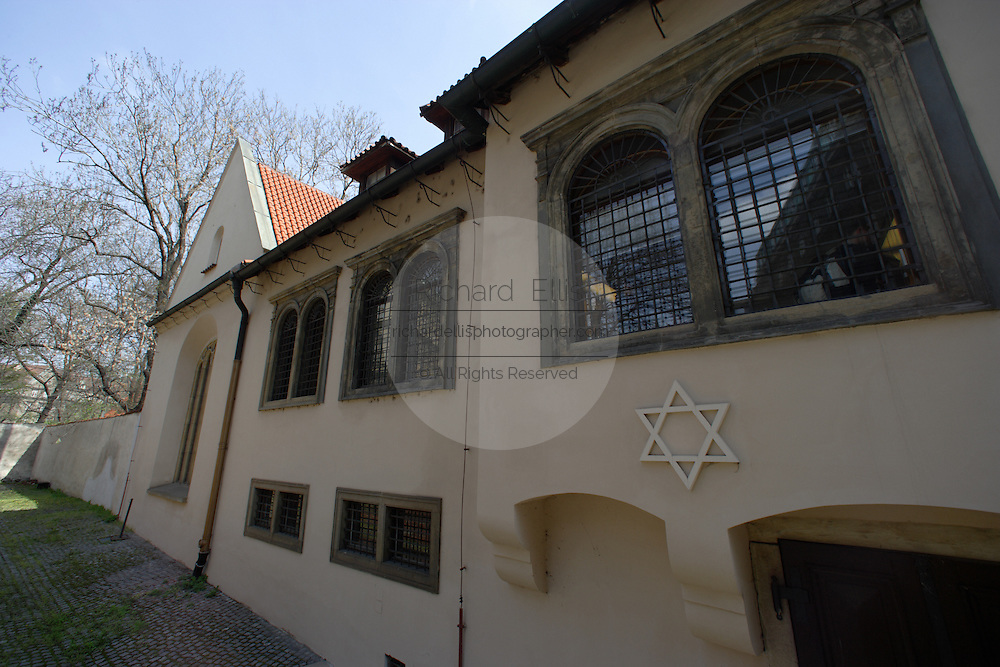The Spanish Synagogue in the Jewish Quarter of Prague, Czech Republic. The synagogue, built in 1868 follows Moorish architectural motifs.