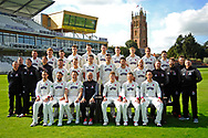 County Championship team photo - (Back Row) Roelof van der Merwe, Dom Bess, Ryan Davies, Ben Green, Adam Hose, Paul van Meekeren, Michael Leask, George Bartlett, Josh Davey, Johann Myburgh, (Middle Row) Chris Rogers (Batting Coach), Gary Metcalfe (Physiotherapist), Steve Snell (2nd XI Coach and Academy Director), Jason Kerr (Bowling and Fielding Coach), Steven Davies, Max Waller, Jamie Overton, Craig Overton, Tim Groenewald, Jack Leach, Darren Veness (Head of Strength and Conditioning), Jamie Thorpe (Lead Physiotherapist, Andrew Griffiths (Performance Analyst), Paul Tweddle (Fielding Coach), (Front Row) Lewis Gregory, Peter Trego, Marcus Trescothick, Matt Maynard (Director of Cricket), Tom Abell (Captain), James Hildreth and Jim Allenby during the Somerset County Cricket Club PhotoCall 2017 at the Cooper Associates County Ground, Taunton, United Kingdom on 5 April 2017. Photo by Graham Hunt.