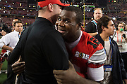 Cardale Jones #12 of the Ohio State Buckeyes celebrates after defeating the Oregon Ducks during the College Football Playoff National Championship Game at AT&T Stadium on January 12, 2015 in Arlington, Texas.  (Cooper Neill for The New York Times)
