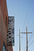 The sign outside the Philbrook Downtown in The Brady District on Saturday, October 19, 2013, in Tulsa, Oklahoma. <br /> <br /> http://philbrook.org/about/press-releases/philbrook-downtown-opens-june-14-2013
