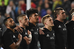 September 16, 2017 - Auckland, New Zealand - New Zealand national anthem before the Rugby Championship test match between the New Zealand All Blacks and the South Africa Springboks at QBE stadium in Auckland on Sep 16, 2017. All Blacks beats Springboks 57-0. (Credit Image: © Shirley Kwok/Pacific Press via ZUMA Wire)