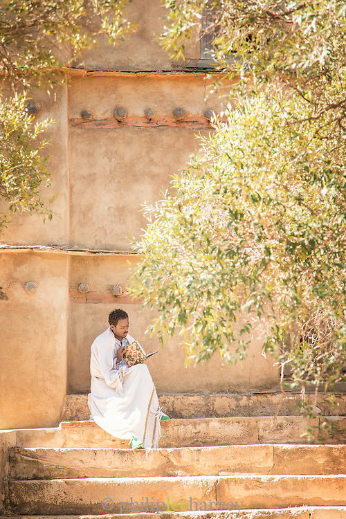 Priest, Debre Demo Church. West of Adigrat, Tigray Region. Ethiopia, Horn of Africa