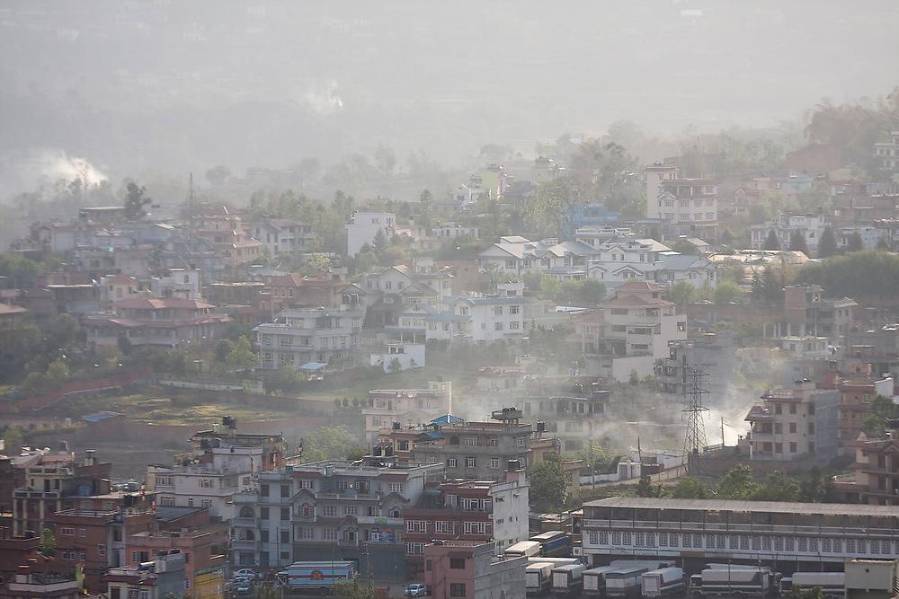 The houses and haze of Kathmandu, Nepal, as seen from Swayambhunath Temple.