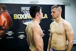 Leonardo Bonura of Italy and Andrej Bakovic of Slovenia pose during Official weighting ceremony one day before Dejan Zavec Boxing Gala event in Ljubljana, on March 10, 2017 in Grand Hotel Union, Ljubljana, Slovenia. Photo by Vid Ponikvar / Sportida