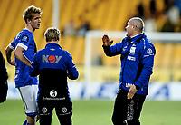Fotball , 07. april 2015 ,   Eliteserien , Tippeligaen <br /> Lillestrøm - Start 1-1<br /> Mons Ivar Mjelde , trener Start og Kristoffer Ajer , Start