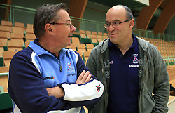 Head coach Miro Pozun and director Stane Ostrelic at practice of Slovenian handball men national team before going to Israel, on October 27, 2008 in Lasko, Slovenia. (Photo by Vid Ponikvar / Sportal Images)
