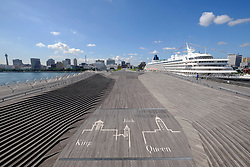 View of Osanbashi passenger terminal  in Yokohama Port in Japan