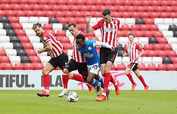 Siriki Dembele of Peterborough United takes on the Sunderland defence - Mandatory by-line: Joe Dent/JMP - 26/09/2020 - FOOTBALL - Stadium of Light - Sunderland, England - Sunderland v Peterborough United - Sky Bet League One