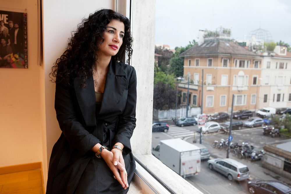 """Milan, Italy, May 30, 2013. Joumana Haddad, Lebanese writer, journalist and poet born in Beirut. Author of """"Superman is an arab""""."""