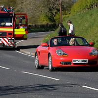 2001 Porsche Boxster with MAN Firetruck, Cwmann Wales May 2010