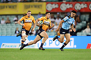 Tom Banks makes a break to score a try. NSW Waratahs v ACT Brumbies. 2021 Super Rugby AU Round 7 Match. Played at Sydney Cricket Ground on Friday 2 April 2021. Photo Clay Cross / photosport.nz