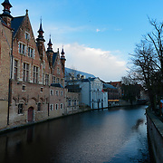 Brugge Architecture And Dijver River Canal
