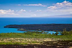 lava field and KiholoBay, Kohala Coast, Big Island, Hawaii, USA, Pacific Ocean