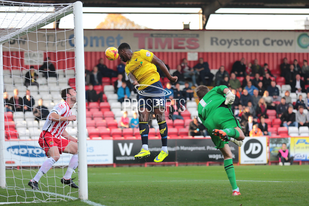 Oxford United defender Chey Dunkley misses a chance during the Sky Bet League 2 match between Stevenage and Oxford United at the Lamex Stadium, Stevenage, England on 31 October 2015. Photo by Jemma Phillips.