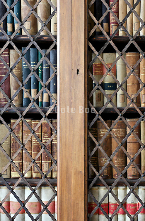 old style library closet with vintage books