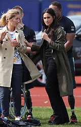 Ms Meghan Markle  and Jayne Kavanagh attend the Invictus Games UK Team Chef de Mission attends the UK Team Invictus Games trials held at Bath University Sports training village in Somerset. Prince Harry and Ms Meghan Markle joined wounded, injured and sick military personnel and veterans who are trying out for a place on the UK team at the Invictus Games Sydney 2018 <br />Photo credit should read Chris Radburn/EMPICS Entertainment