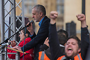 Jeremy Corbyn recieves a warm enthusiastic response - A march against cuts to and potential privatisation of the NHS starts in Tavistock Square and heads for Parliament Square. The march was organised by the peoples assembly and supported by most major unions and the Labour Party.