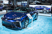 New York, NY - 1 April 2015. The Toyota hydrogen fuel-cell powered Mirai at the New York International Auto Show. Toyota plans to introduce the car first in California, then in the Northeastern US.