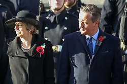 © Licensed to London News Pictures. 10/11/2019. London, UK.Former Prime Minister Theresa May and David Cameron attend the Remembrance Sunday ceremony at the Cenotaph memorial in Whitehall, central London. Remembrance Sunday is held each year to commemorate the service men and women who fought in past military conflicts. Photo credit: Dinendra Haria/LNP