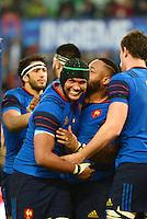 Joie Mathieu BASTAREAUD / Thierry DUSAUTOIR - 15.03.2015 - Rugby - Italie / France - Tournoi des VI Nations -Rome<br /> Photo : David Winter / Icon Sport
