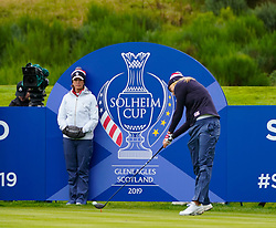 Auchterarder, Scotland, UK. 12 September 2019. Final practice day at 2019 Solheim Cup on Centenary Course at Gleneagles. Pictured; Lexi Thompson of USA drives on 9th hole watched by Juli Inkster. Iain Masterton/Alamy Live News