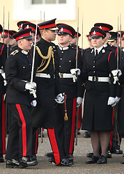 The Duke of Cambridge (centre left) represents the Queen as the Reviewing Officer at The Sovereign's Parade at Royal Military Academy Sandhurst in Camberley.