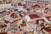 Lisbon, November 2012. Anjos district. Aerial view of a traditional sector of Lisbon, red roofs and narrow streets.