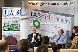 © Licensed to London News Pictures . 20/04/2016 . Preston , UK . Shadow Chancellor JOHN MCDONNELL announces plans by the Labour Party to support cooperatives and employee ownership , at a speech at the employee-owned TAS Partnership , Guildhall House in Preston . Pictured with Directors of TAS; JOHN TAYLOR and SARAH HUNTLEY . Photo credit: Joel Goodman/LNP