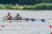 Poznan, POLAND, 21st June 2019, Friday, Morning Heats, USA. W2X -/1 (b) MADDEN Cicely and (s) STONE Genevra, FISA World Rowing Cup II, Malta Lake Course, © Peter SPURRIER/Intersport Images,<br /> <br /> 10:34:24