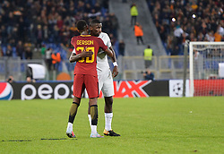 October 31, 2017 - Rome, Italy - Antonio Rudiger, Gerson during the Champions League football match A.S. Roma vs Chelsea Football Club at the Olympic Stadium in Rome, on october 31, 2017. (Credit Image: © Silvia Lore/NurPhoto via ZUMA Press)