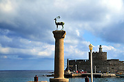 Greece, Rhodes, Rhodes City, The old town of Rhodes, The entrance to the Mandraki harbour