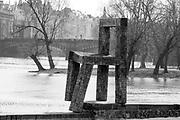 Czech Republic, Prague, Vltava River, wooden chair modern art,