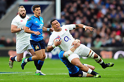 Nathan Hughes of England is tackled to ground - Mandatory byline: Patrick Khachfe/JMP - 07966 386802 - 26/02/2017 - RUGBY UNION - Twickenham Stadium - London, England - England v Italy - RBS Six Nations Championship 2017.