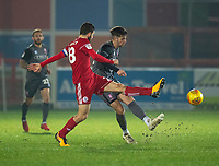 Lincoln City's Ellis Chapman vies for possession with Accrington Stanley's Seamus Conneely<br /> <br /> Photographer Andrew Vaughan/CameraSport<br /> <br /> The EFL Checkatrade Trophy Second Round - Accrington Stanley v Lincoln City - Crown Ground - Accrington<br />  <br /> World Copyright © 2018 CameraSport. All rights reserved. 43 Linden Ave. Countesthorpe. Leicester. England. LE8 5PG - Tel: +44 (0) 116 277 4147 - admin@camerasport.com - www.camerasport.com