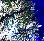 Satellite view of the Norwegian fjords: Sogn og Fjordane, west coast of Norway. US Geological Survey.  Science