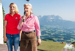 27.06.2019, Starthaus Streif, Kitzbuehel, AUT, FIS Ski Weltcup, Herren, Praesentation des Hahnenkamm Plakats 2020, im Bild v.l. Viktoria Veider-Walser (Geschäftsführerin Kitzbühel Tourismus), Signe Reisch (Präsidentin Kitzbühel Tourismus) // f.l. Viktoria Veider-Walser Managing Director Kitzbühel Tourism and Viktoria Veider-Walser Managing Director Kitzbühel Tourism during the Presentation of the Hahnenkamm poster 2020 at the Starthaus Streif in Kitzbuehel, Austria on 2019/06/27. EXPA Pictures © 2019, PhotoCredit: EXPA/ Stefan Adelsberger