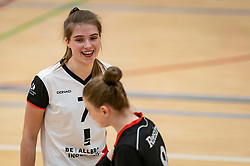 Rianne Vos of Apollo 8 celebrate during the first league match between Laudame Financials VCN vs. Apollo 8 on February 06, 2021 in Capelle aan de IJssel.