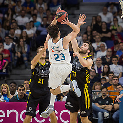 May 31, 2018 - Madrid, Madrid, Spain - Sergio Llull (C) during Real Madrid victory over Iberostar Tenerife (83 - 73) in Liga Endesa playoff 1st round (game 1) celebrated in Madrid at Wizink Center. May 27th 2018. (Credit Image: © Juan Carlos Garcia Mate/Pacific Press via ZUMA Wire)