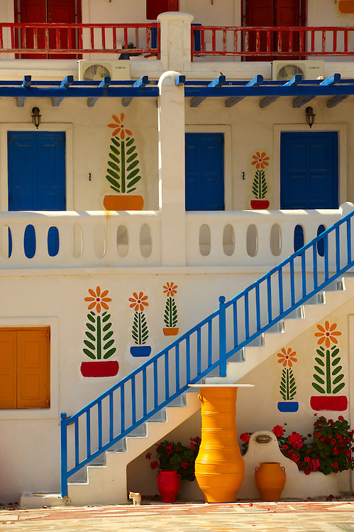 House decorated with traditional folk art. Mykonos, Cyclades Islands, Greece. .<br /> <br /> Visit our GREEK HISTORIC PLACES PHOTO COLLECTIONS for more photos to download or buy as wall art prints https://funkystock.photoshelter.com/gallery-collection/Pictures-Images-of-Greece-Photos-of-Greek-Historic-Landmark-Sites/C0000w6e8OkknEb8