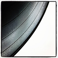 2019 MARCH 26 - Detail of vinyl record with grooves as seen in Seattle, WA, USA. Taken/edited with Instagram App for iPhone. By Richard Walker