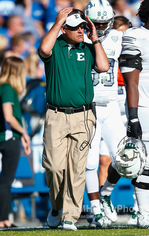 LEXINGTON, KY - SEPTEMBER 30: Head coach Chris Creighton of the Eastern Michigan Eagles is seen during the game against the Kentucky Wildcats at Commonwealth Stadium on September 30, 2017 in Lexington, Kentucky. (Photo by Michael Hickey/Getty Images) *** Local Caption *** Chris Creighton