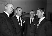 29/7/1964<br /> 7/29/1964<br /> 29 July 1964<br /> <br /> Dr. J.F. Eustace the Hon. Secetary for Portmamock Golf club chatting with Mr C.U. Locke the Commercial Manager of Irish Dunlop Company at the Press Conference held at the Shelbourne Hotel