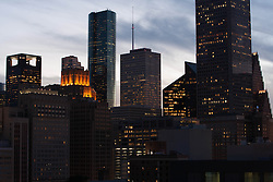 Downtown Houston, Texas skyscrapers in the early evening.