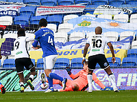 Football - 2020 / 2021 Sky Bet Championship - Cardiff City vs Swansea City - Cardiff City Stadium<br /> <br /> Jamal Lowe of Swansea scores his team's first goal in a stadium without fans because of the pandemic crisis<br /> <br /> COLORSPORT/WINSTON BYNORTH