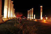 Israel, Bet Shean, Scythopolis, The Cardo at Palladius street illuminated at night