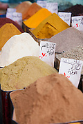 Spices for sale at a stall in a souq in the Old City in Damascus, Syria