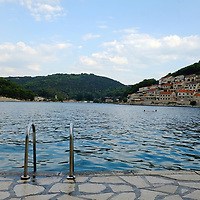 Swimming steps going into the water;<br />Pucisca, Brac Island, Croatia